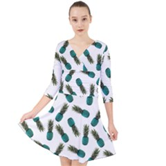 Pinapples Teal Quarter Sleeve Front Wrap Dress