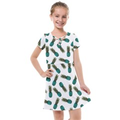 Pinapples Teal Kids  Cross Web Dress
