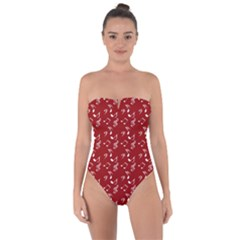 Red White Music Tie Back One Piece Swimsuit