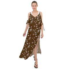 Brown Music Maxi Chiffon Cover Up Dress