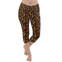 Brown Music Lightweight Velour Capri Yoga Leggings