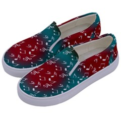 Teal Music Heart Music Kids  Canvas Slip Ons by snowwhitegirl