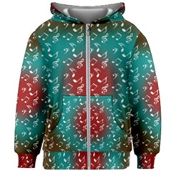 Teal Music Heart Music Kids Zipper Hoodie Without Drawstring