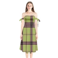 Avocado Green Plaid Shoulder Tie Bardot Midi Dress