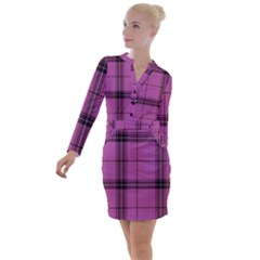 Violet Plaid Button Long Sleeve Dress by snowwhitegirl