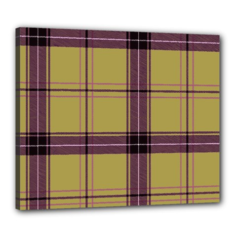 Beige Purple Plaid Canvas 24  X 20  (stretched) by snowwhitegirl