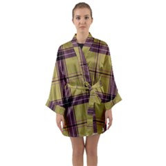Beige Purple Plaid Long Sleeve Kimono Robe