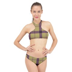 Beige Purple Plaid High Neck Bikini Set