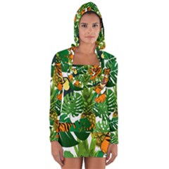 Tropical Pelican Tiger Jungle Long Sleeve Hooded T Shirt by snowwhitegirl
