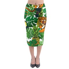 Tropical Pelican Tiger Jungle Midi Pencil Skirt by snowwhitegirl