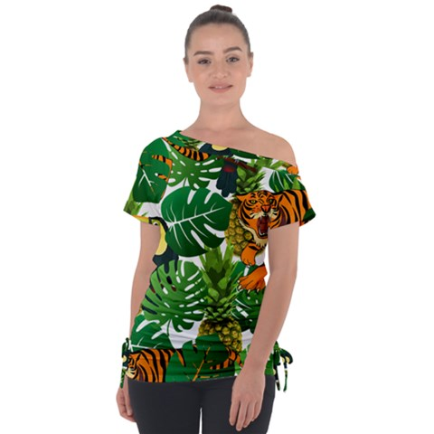 Tropical Pelican Tiger Jungle Tie-up Tee by snowwhitegirl