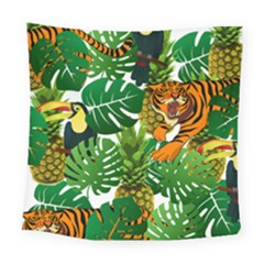 Tropical Pelican Tiger Jungle Square Tapestry (large) by snowwhitegirl