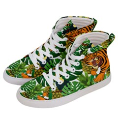 Tropical Pelican Tiger Jungle Men s Hi-top Skate Sneakers by snowwhitegirl