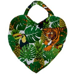 Tropical Pelican Tiger Jungle Giant Heart Shaped Tote by snowwhitegirl