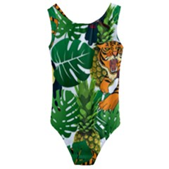 Tropical Pelican Tiger Jungle Kids  Cut Out Back One Piece Swimsuit