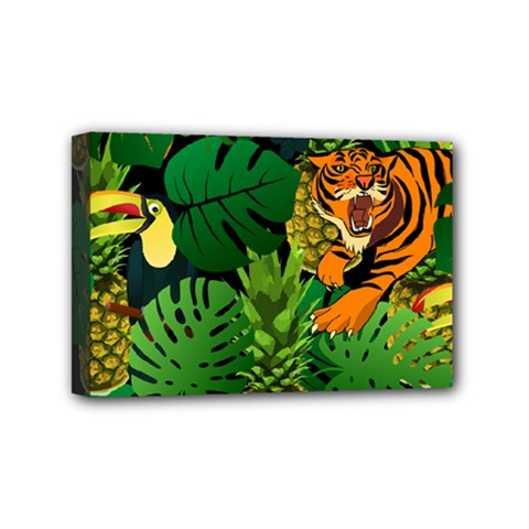 Tropical Pelican Tiger Jungle Black Mini Canvas 6  X 4  (stretched) by snowwhitegirl
