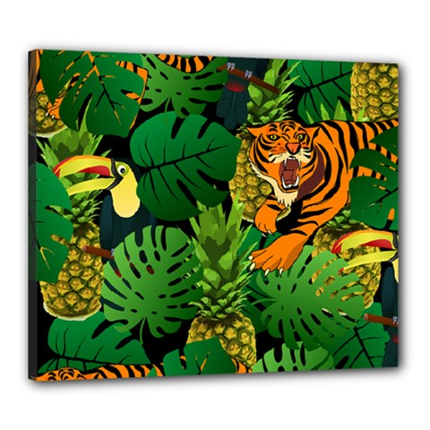 Tropical Pelican Tiger Jungle Black Canvas 24  X 20  (stretched) by snowwhitegirl