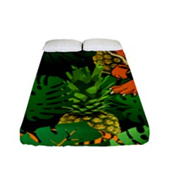 Tropical Pelican Tiger Jungle Black Fitted Sheet (full/ Double Size) by snowwhitegirl