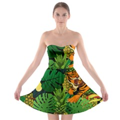Tropical Pelican Tiger Jungle Black Strapless Bra Top Dress by snowwhitegirl