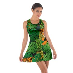 Tropical Pelican Tiger Jungle Black Cotton Racerback Dress