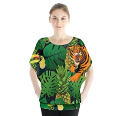 Tropical Pelican Tiger Jungle Black Blouse