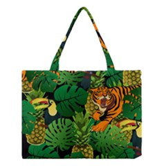 Tropical Pelican Tiger Jungle Black Medium Tote Bag by snowwhitegirl