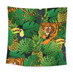 Tropical Pelican Tiger Jungle Black Square Tapestry (large) by snowwhitegirl