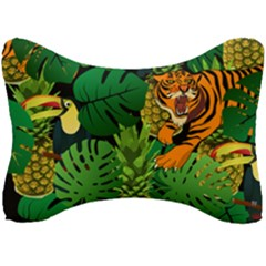Tropical Pelican Tiger Jungle Black Seat Head Rest Cushion by snowwhitegirl