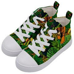 Tropical Pelican Tiger Jungle Black Kid s Mid Top Canvas Sneakers by snowwhitegirl
