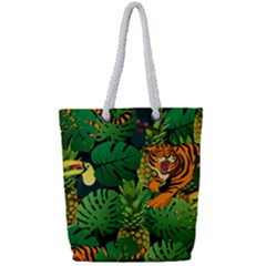 Tropical Pelican Tiger Jungle Black Full Print Rope Handle Tote (small) by snowwhitegirl