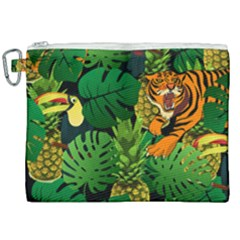 Tropical Pelican Tiger Jungle Black Canvas Cosmetic Bag (xxl)