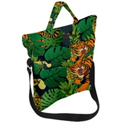 Tropical Pelican Tiger Jungle Black Fold Over Handle Tote Bag by snowwhitegirl