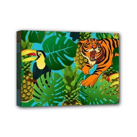 Tropical Pelican Tiger Jungle Blue Mini Canvas 7  X 5  (stretched) by snowwhitegirl