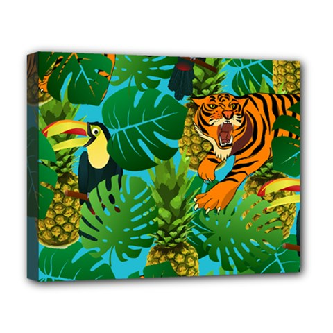 Tropical Pelican Tiger Jungle Blue Deluxe Canvas 20  X 16  (stretched) by snowwhitegirl