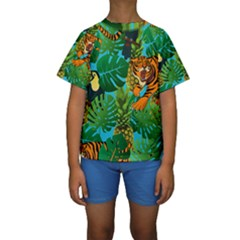 Tropical Pelican Tiger Jungle Blue Kids  Short Sleeve Swimwear
