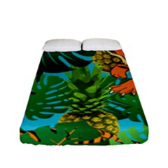 Tropical Pelican Tiger Jungle Blue Fitted Sheet (full/ Double Size) by snowwhitegirl
