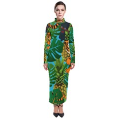 Tropical Pelican Tiger Jungle Blue Turtleneck Maxi Dress