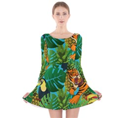 Tropical Pelican Tiger Jungle Blue Long Sleeve Velvet Skater Dress by snowwhitegirl