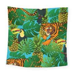 Tropical Pelican Tiger Jungle Blue Square Tapestry (large) by snowwhitegirl