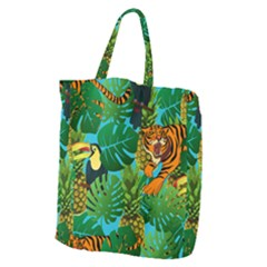 Tropical Pelican Tiger Jungle Blue Giant Grocery Tote by snowwhitegirl