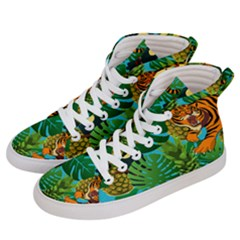 Tropical Pelican Tiger Jungle Blue Women s Hi Top Skate Sneakers by snowwhitegirl
