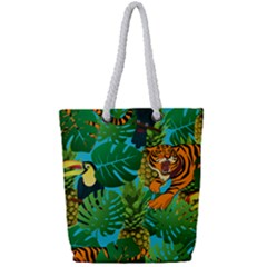 Tropical Pelican Tiger Jungle Blue Full Print Rope Handle Tote (small) by snowwhitegirl