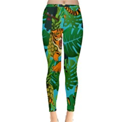 Tropical Pelican Tiger Jungle Blue Inside Out Leggings
