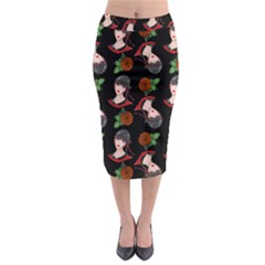 Vintage Flapper Woman Black Midi Pencil Skirt by snowwhitegirl