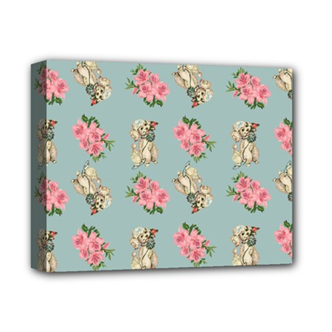 Retro Dog Floral Pattern Blue Deluxe Canvas 14  X 11  (stretched) by snowwhitegirl