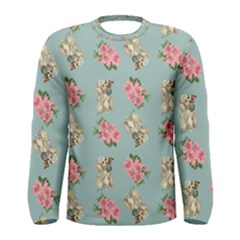 Retro Dog Floral Pattern Blue Men s Long Sleeve Tee