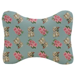 Retro Dog Floral Pattern Blue Velour Seat Head Rest Cushion