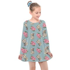 Retro Dog Floral Pattern Blue Kids  Long Sleeve Dress by snowwhitegirl