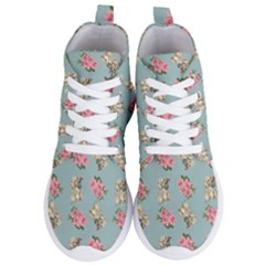 Retro Dog Floral Pattern Blue Women s Lightweight High Top Sneakers by snowwhitegirl