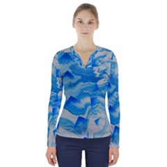 Space Fracture V Neck Long Sleeve Top